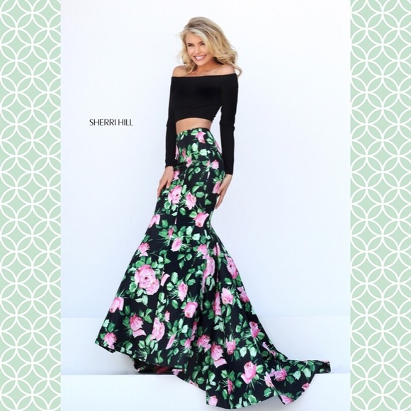 Sherri Hill Dresses 50423 Two Piece Floral Prom Dress 2 Poshmark